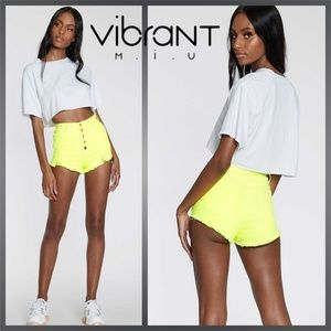 Vibrant M.I.U. Neon Yellow High Rise Denim Shorts